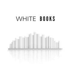 Stack white books on bookshelf with reflection vector