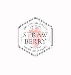 Strawberry farm badge or logo template hand drawn vector