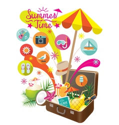 Suitcase with Summer Objects and Icons Isolated vector image