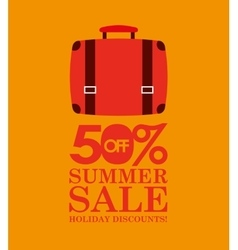 Summer sale 50 discounts with suitcase vector