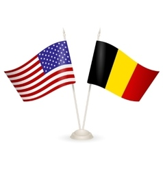 Table stand with flags of Belgia and USA vector image