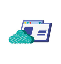 Template web page with cloud computing vector