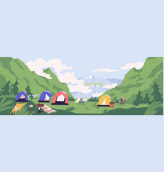touristic camp or campground with tents and vector image