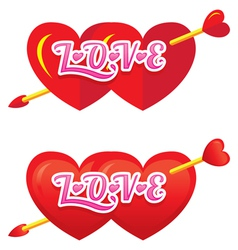 Twin Heart Shapes with Arrow vector