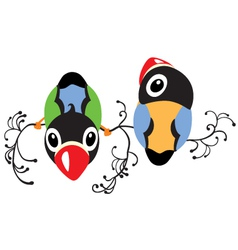 Two cartoon birds vector