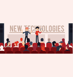 two speakers in front of audience concept vector image