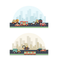 urban vehicles buildings and different fuel vector image