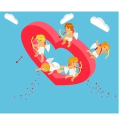 Valentines Day 3d Isometric Angels with Bow vector image