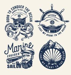vintage nautical monochrome labels vector image