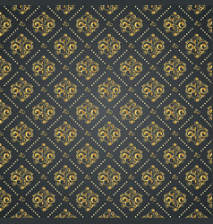 vintage wallpaper with golden elements on black vector image