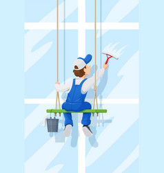Window washer cleaning vector