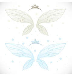 Winter fairy wings with tiara bundled isolated on vector