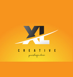 Xl x l letter modern logo design with yellow vector