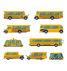 yellow school buses set students transportation vector image