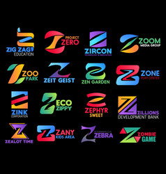 Z icons company corporate identity modern colors vector