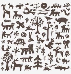 animals doodles set vector image vector image