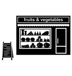 Black icon of shop of fruit vector image vector image