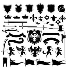 Heraldic set black vector image vector image