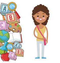 Afro kid girl pupil supplies school vector