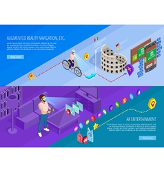 Augmented Reality 2 Isometric Banners Set vector image