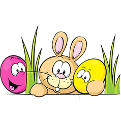 bunny peeking from behind the desk with cute eggs vector image