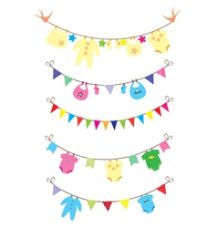 bunting baby shower vector image vector image