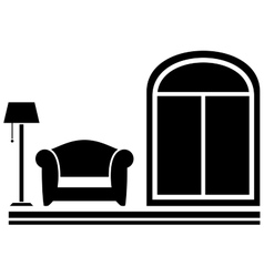 interior icon with armchair floor lamp and window vector image vector image
