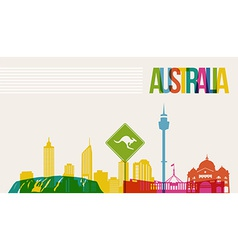 Travel Australia destination landmarks skyline vector image