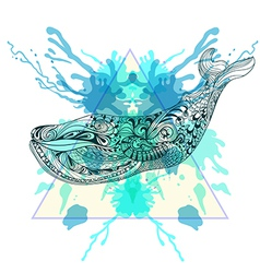 Zentangle stylized Whale in triangle frame with vector image vector image