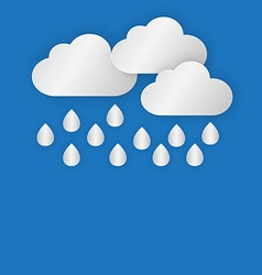 A cloud with rain drop on blue sky background in vector image