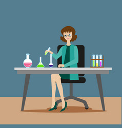 a girl chemist or assistant conducts chemical or vector image