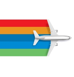Airplane with blank rainbow for message text vector image vector image