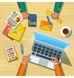 Business Meeting Long Lands Flat Poster vector image vector image