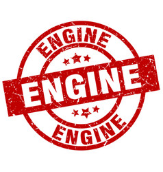engine round red grunge stamp vector image vector image