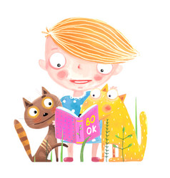 girl cat and dog reading book vector image vector image