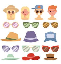 beach accessories summer hats people avatars vector image vector image