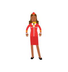 beautiful stewardess in red uniform flight vector image