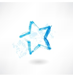 Blue star grunge icon vector image