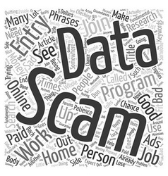 Data Entry Scams Word Cloud Concept vector image vector image