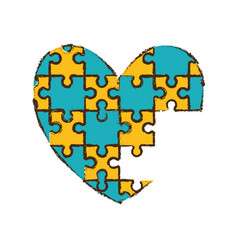 heart puzzle pieces image vector image