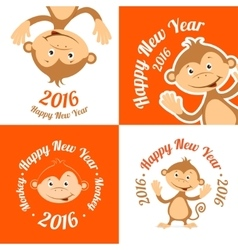 Set of funny cartoon monkey is flat The symbol of vector image