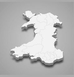 3d isometric map wales isolated with shadow vector
