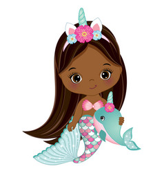 African american cute unicorn mermaid with whale vector