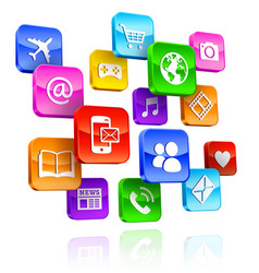 App icons 3d composition vector