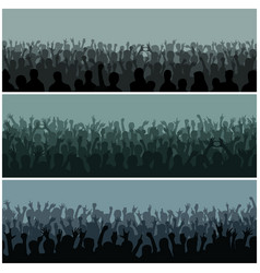 Audience with hands silhouette raised music vector