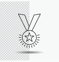 award honor medal rank reputation ribbon line vector image