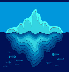 background with iceberg and fish skeletons vector image