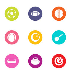 ball tool icons set flat style vector image