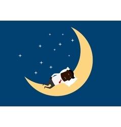 Black businessman sleeping on the moon vector image