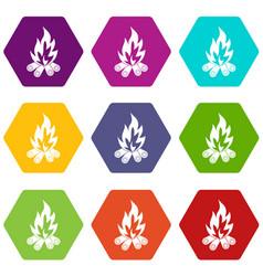 bonfire icon set color hexahedron vector image